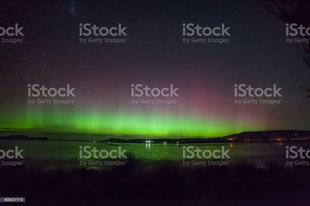 Aurora Australis in Cremorne beach stock photo