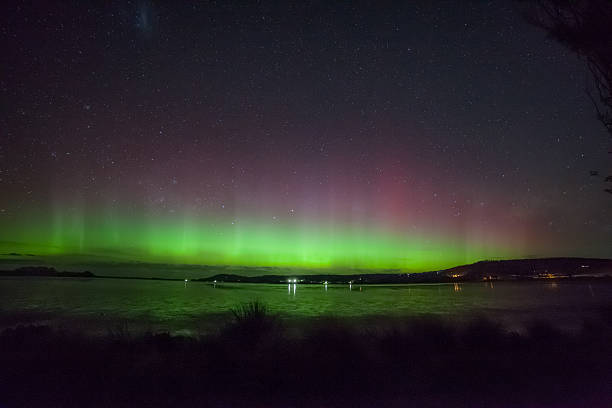 Aurora Australis in Cremorne beach stock photo