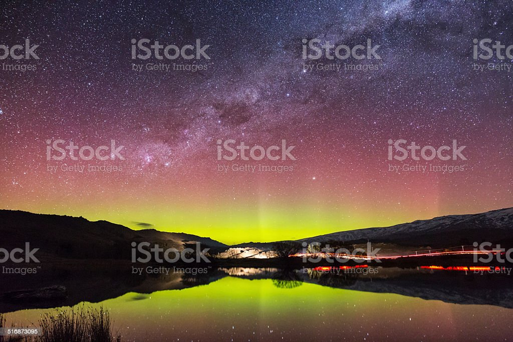 Aurora Australis in New Zealand royalty-free stock photo