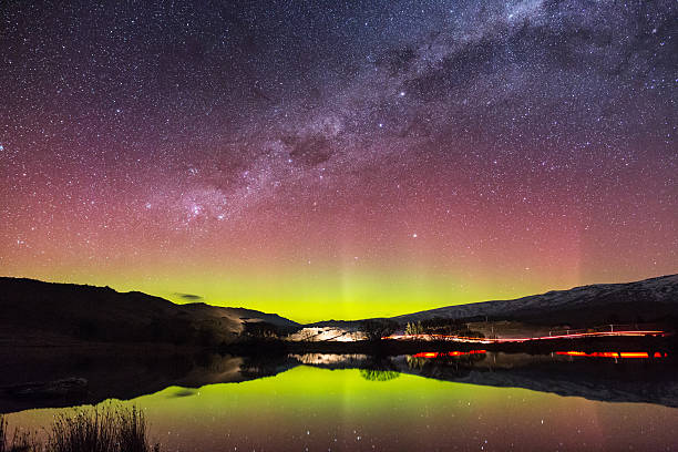 Aurora Australis in New Zealand stock photo