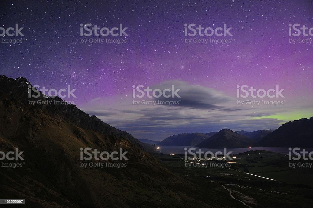 Aurora Australis New Zealand stock photo