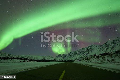 istock Aurora Borealis above road 489206176