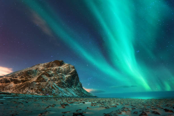 Aurora borealis above the snowy mountain and sandy beach in winter at night. Northern lights in Lofoten islands, Norway. Blue starry sky with polar lights. Landscape with aurora, frozen sea coast stock photo
