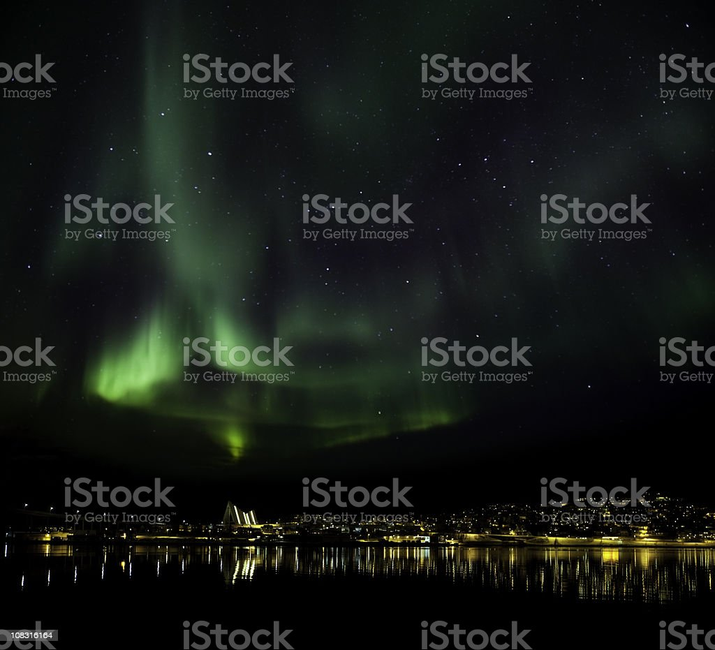 Aurora Borealis above Tromso, Norway stock photo