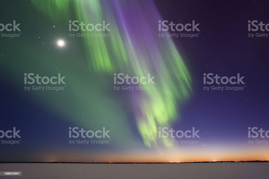 Aurora Borealis and Moon royalty-free stock photo