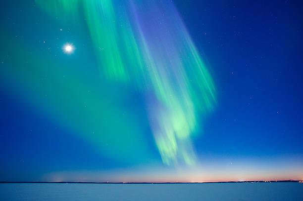Aurora Borealis 、ムーン ストックフォト