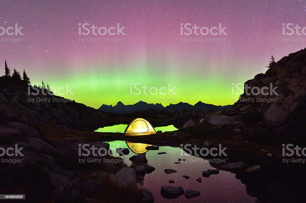Aurora Borealis and tent on Artist Point, Mt. Baker stock photo