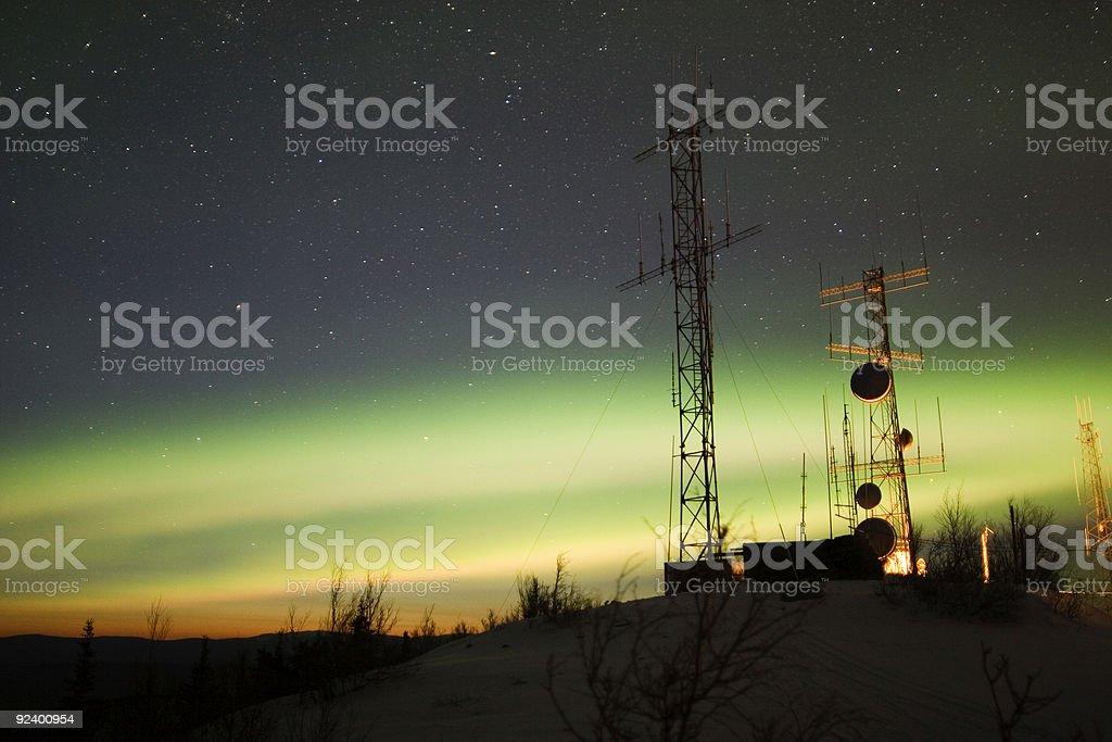 Aurora Borealis and twilight over antenna complex royalty-free stock photo