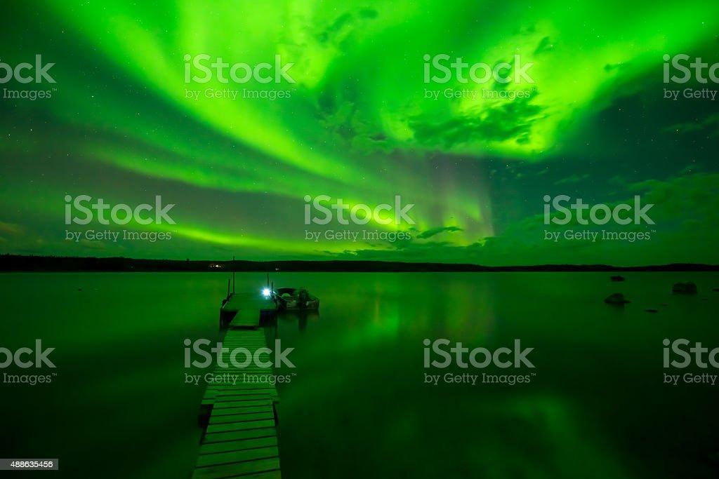 Aurora Borealis at Lake stock photo