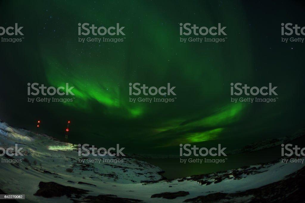Aurora borealis Green on Teriberka stock photo