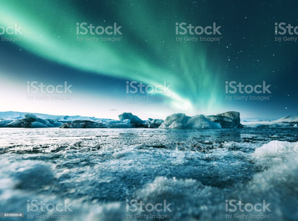aurora borealis in iceland at jakulsarlon stock photo