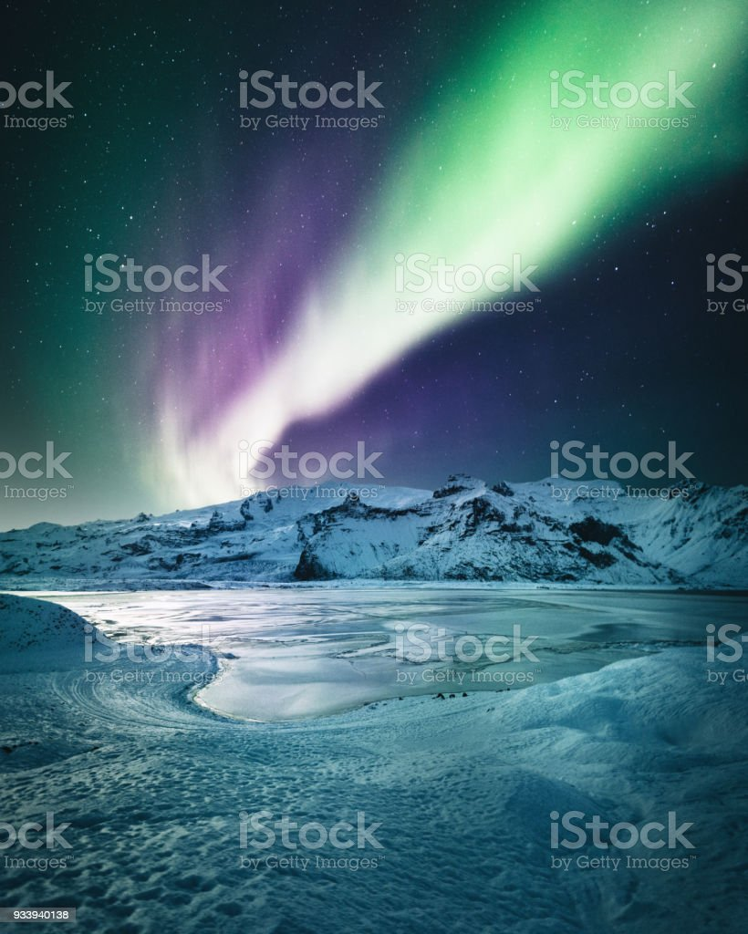 aurora borealis in iceland at jakulsarlon stock photo