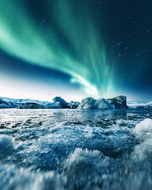aurora borealis in jokulsarlon stock photo