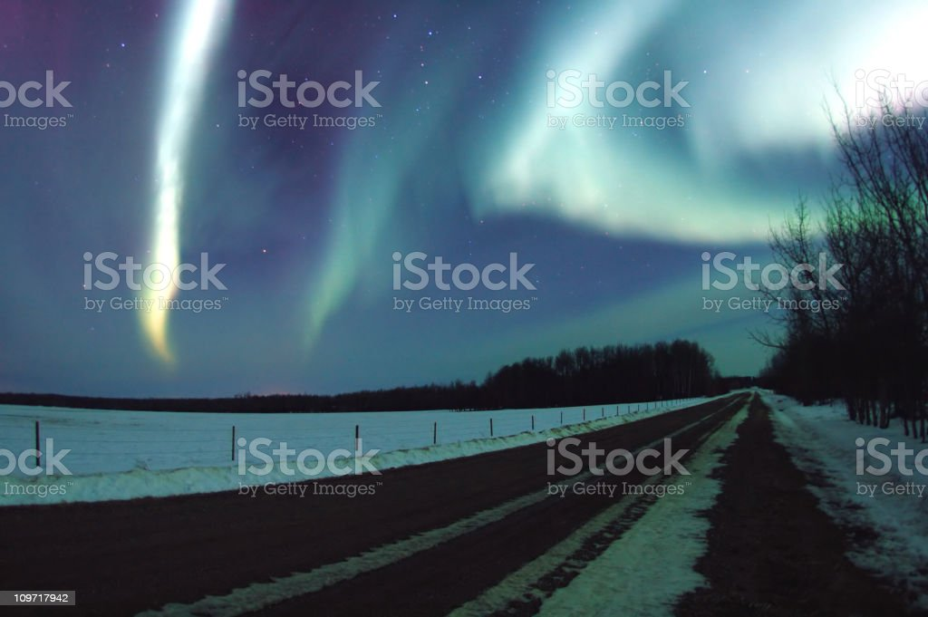 Aurora Borealis in Night Sky - Royalty-free Alberta Stock Photo