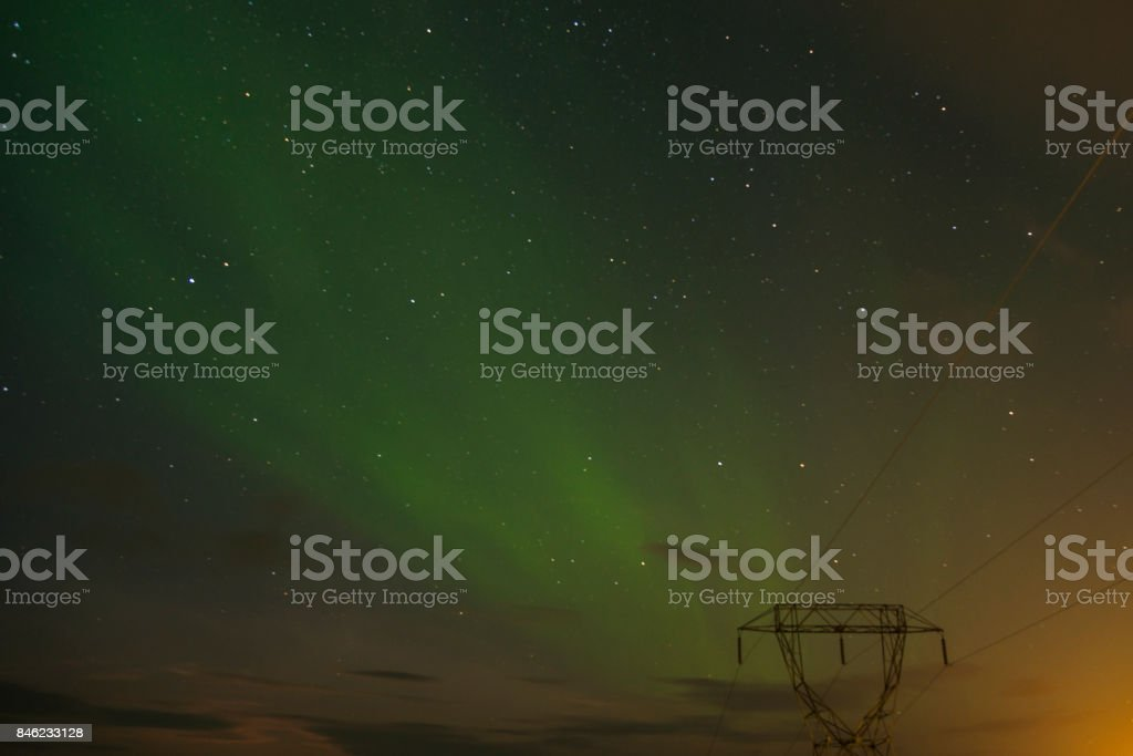 Aurora borealis (Northern lights)  in the sky over the Iceland stock photo