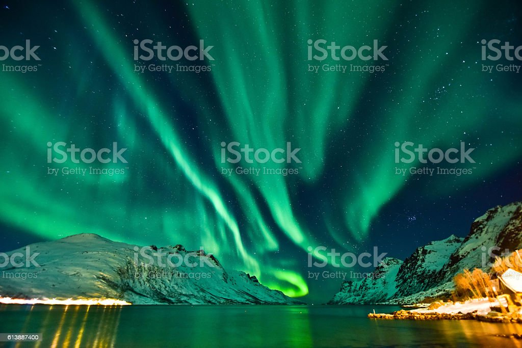 Aurora Borealis in Tromso, Norway stock photo