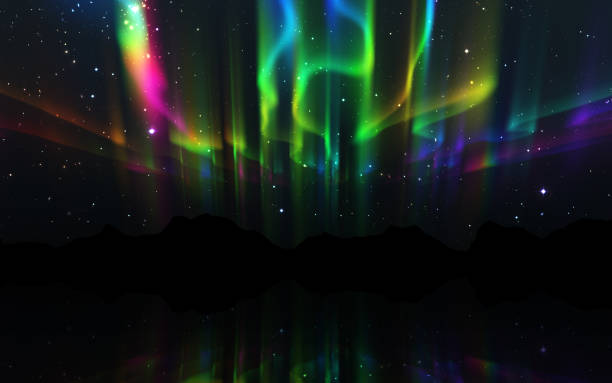 Aurora Borealis natuur landschap 's nachts foto