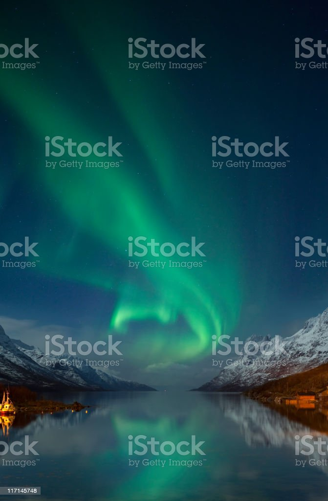 Aurora Borealis near Tromsø, arctic Norway. stock photo