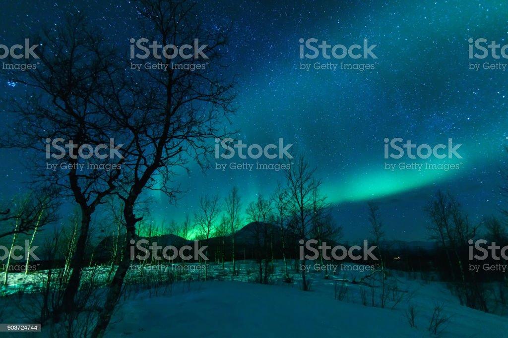 Aurora Borealis Northen lights phenomenon. stock photo