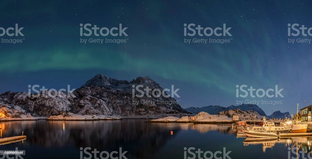 Aurora Borealis, Northern Light or Polar light in night sky over Northern Norway stock photo