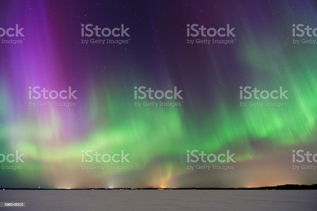 Aurora Borealis, Northern Lights, above frozen lake stock photo