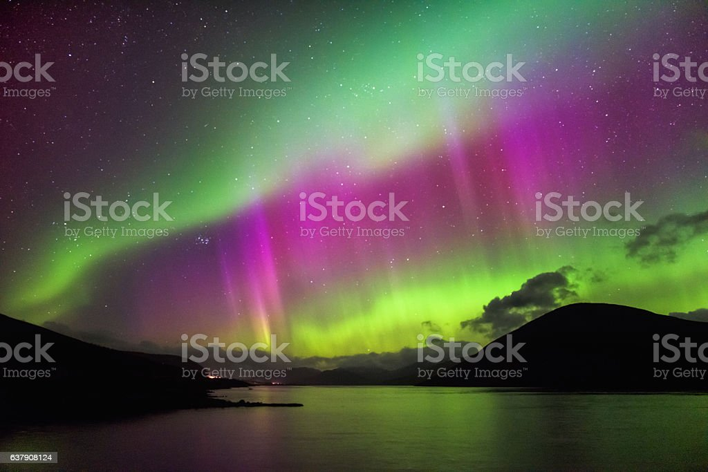 Aurora Borealis - Northern lights, Garve, highlands Scotland - foto de acervo