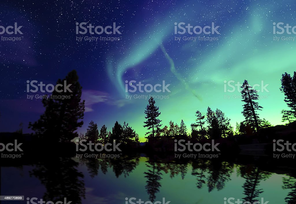 aurora borealis northern lights over lake and trees stock photo