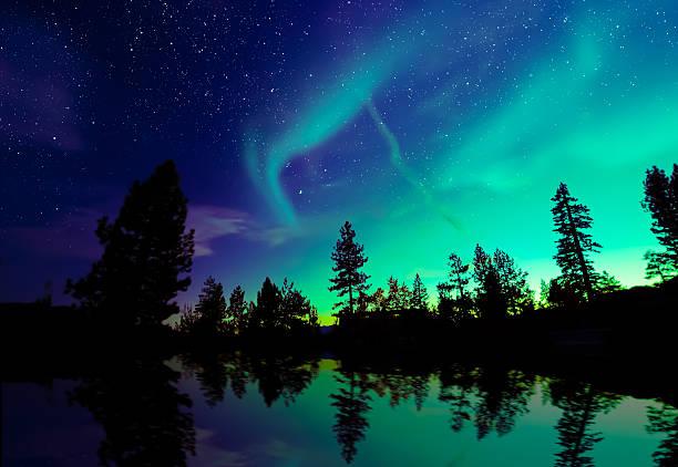 aurora borealis northern lights over lake and trees aurora borealis northern lights over lake and trees aurora borealis stock pictures, royalty-free photos & images