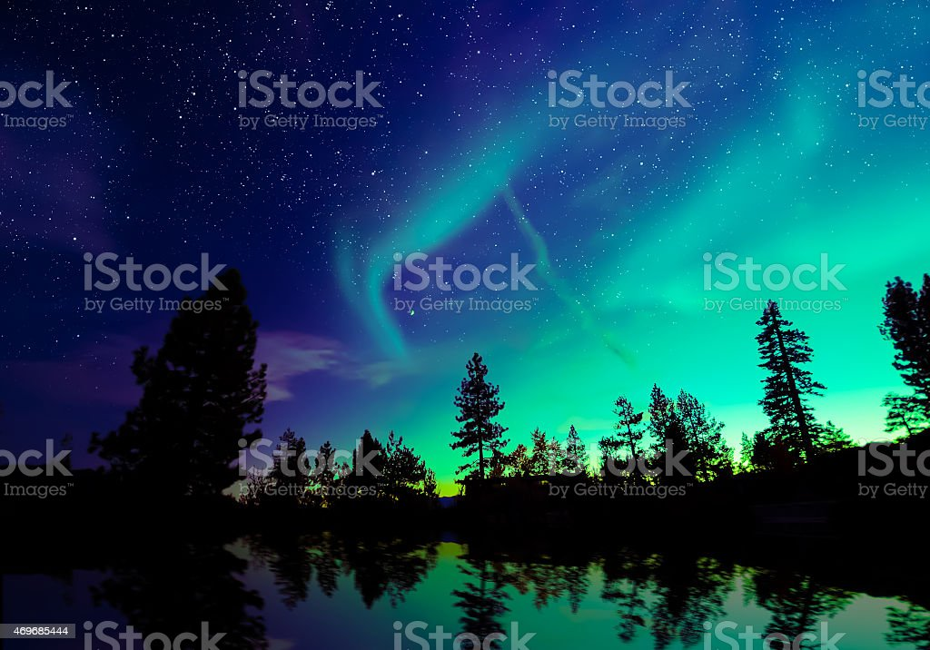 Aurora borealis, northern lights stock photo