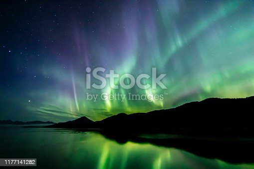 Aurora Borealis (northern lights) in southeast Alaska seen in late summer