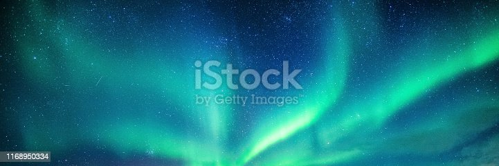 Panorama of Aurora borealis, Northern lights with starry in the night sky