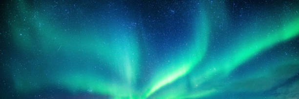 aurora borealis, northern lights with starry in the night sky - aurora boreale foto e immagini stock