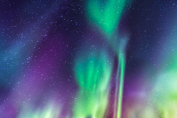 Aurora Borealis on a starry sky stock photo