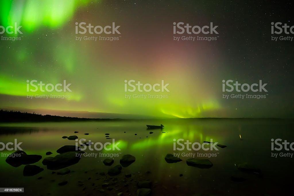 Aurora Borealis on Foggy Lake stock photo