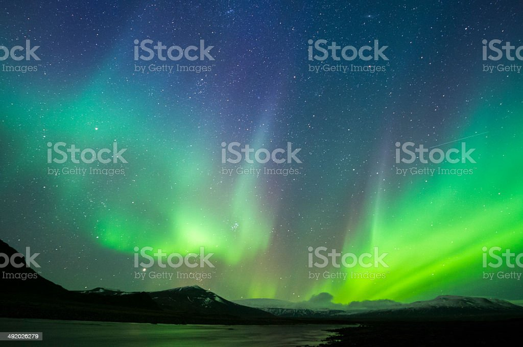 aurora borealis on iceland stock photo