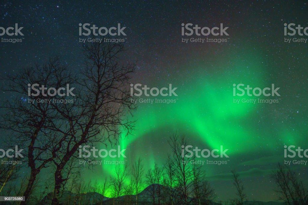 Aurora Borealis or Northen lights phenomenon. stock photo