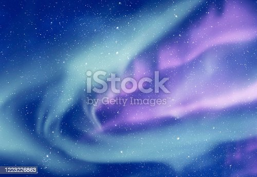 Aurora borealis or Northern lights and sky with stars as background