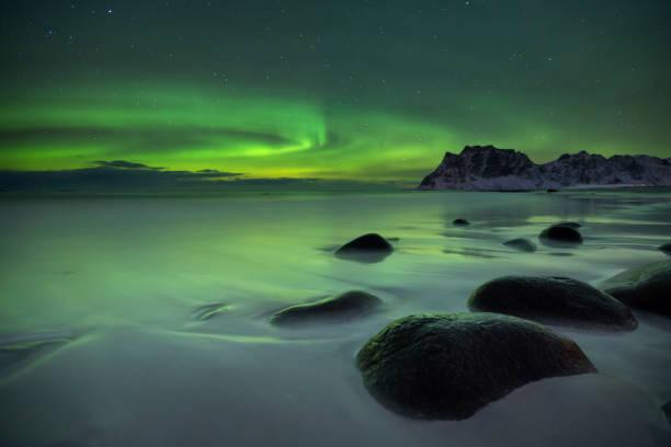 Aurora Boreal sobre uma praia de Lofoten na Noruega - foto de acervo
