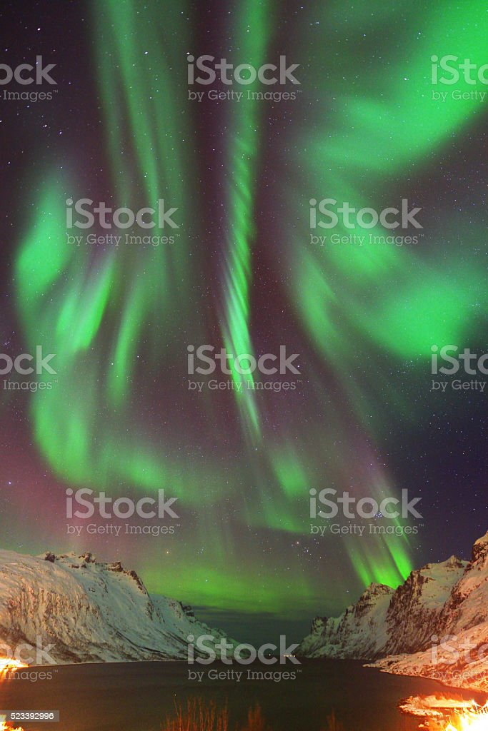 Aurora Borealis Over Ersfjorden, Tromso, Norway stock photo