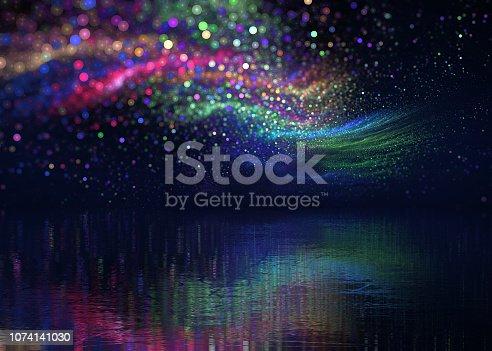 aurora borealis over icy lake, festive background