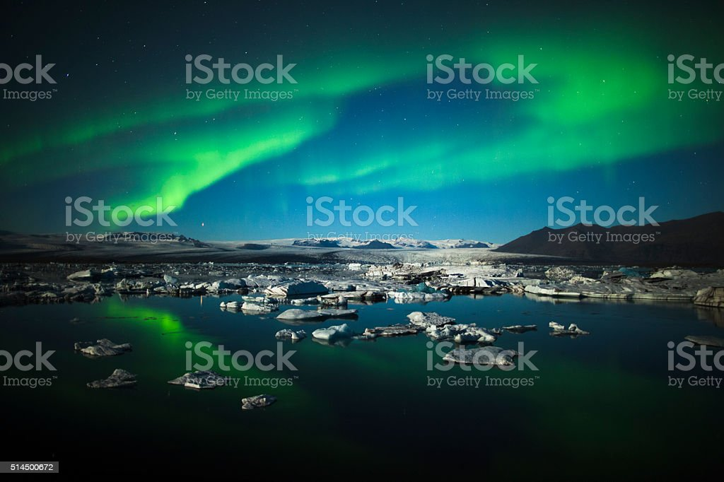 Aurora Borealis over Jokulsarlon - Iceland stock photo