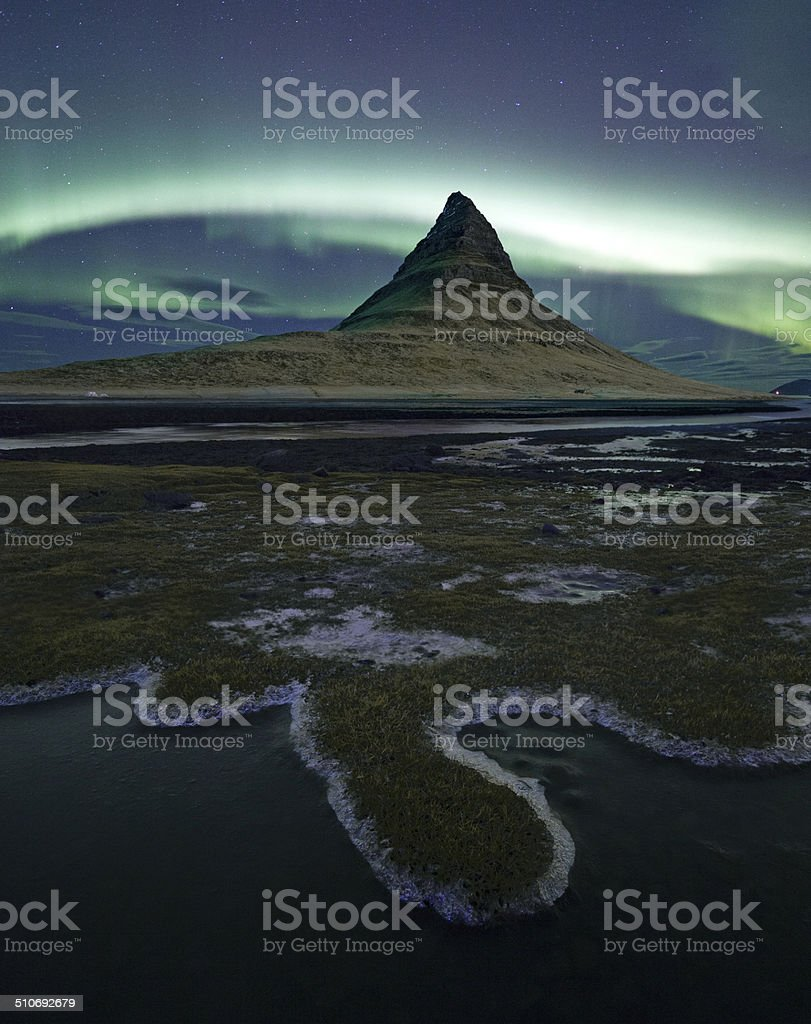Aurora Borealis over Kirkjufell, Snaefellsnes, Iceland stock photo
