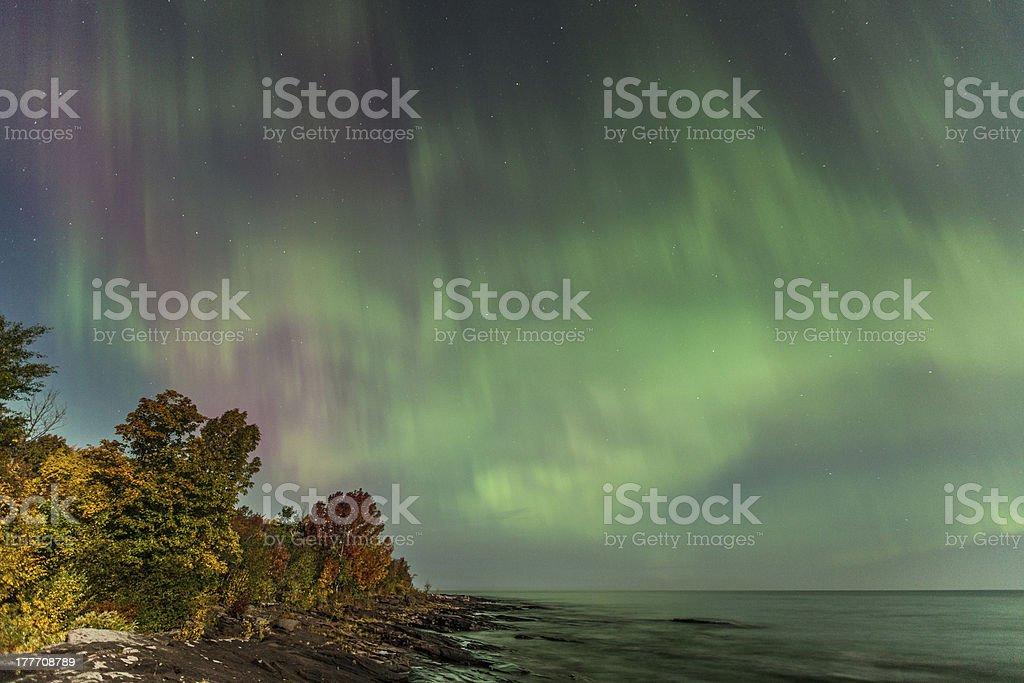 Aurora Borealis over Lake Superior in Michigan stock photo
