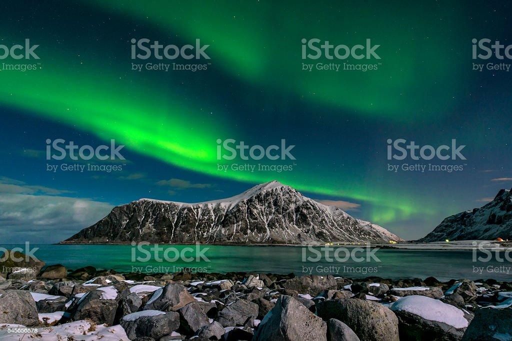 Aurora borealis over Skagsanden beach on Lofoten Islands, – Foto