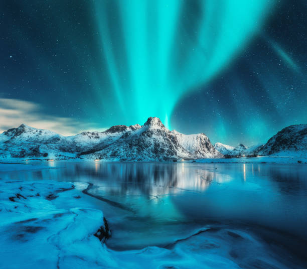 aurora borealis over snowy mountains, frozen sea coast, reflection in water at night. lofoten islands, norway. northern lights. winter landscape with polar lights, ice in water. starry sky with aurora - nord foto e immagini stock