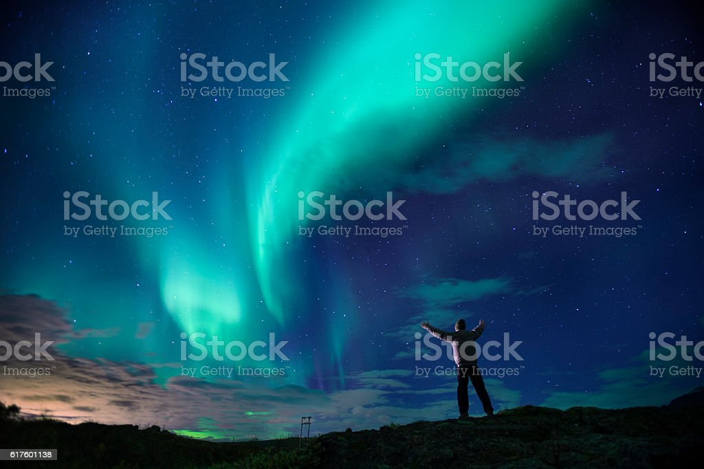 Aurora Borealis (Northern Lights) over southern Iceland. stock photo