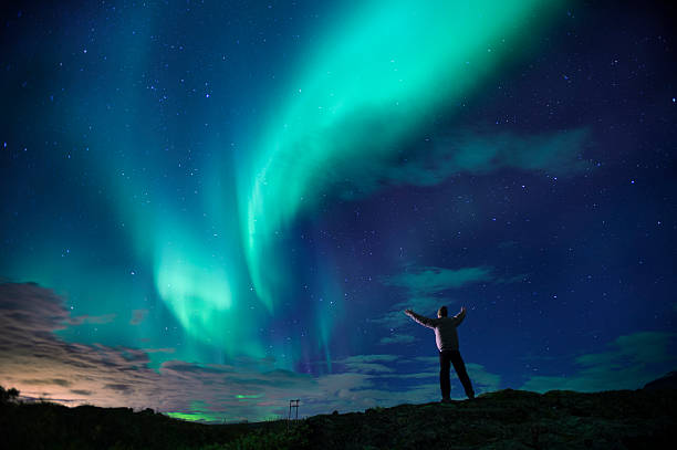 aurora borealis (northern lights) over southern iceland. - northern lights bildbanksfoton och bilder