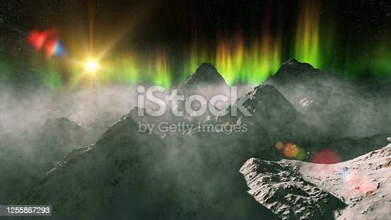 Aurora Borealis over the mountains