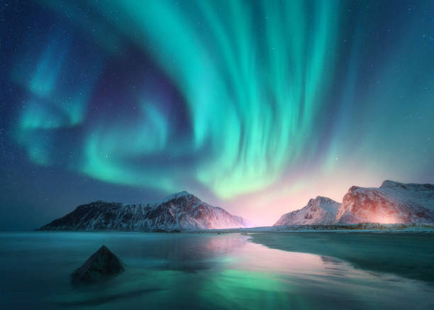 Aurora borealis over the sea and snowy mountains. Northern lights in Lofoten islands, Norway. Sky with polar lights and stars. Winter landscape with aurora, reflection, sandy beach at starry night stock photo