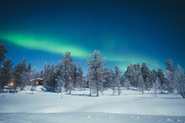 norrsken över winter wonderland landskap i skandinavien - norrbotten bildbanksfoton och bilder